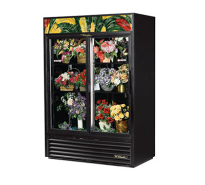 "True GDM-47FC-LD 55"" Floral Merchandiser - 2-Door, 4-Shelf, 47 cu ft, LED, Black"