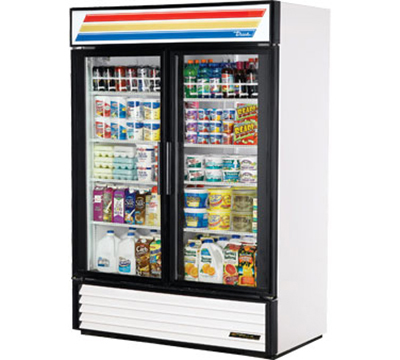 "True GDM-49-LD 55"" Refrigerated Merchandiser - 2-Door, 8-Shelf, LED, 49"