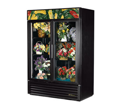 "True GDM-49FC-LD 55"" Floral Merchandiser - 2-Door, 4-Shelf, 49 cu ft, LED, Black"