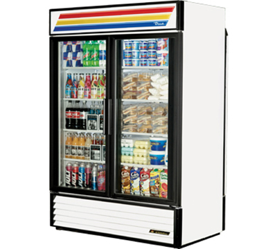 "True GDM-49RL-LD 55"" Rear Load Refrigerated Merchandiser - 4-Door, 8-Shelf, 49 cu ft, LED, White"