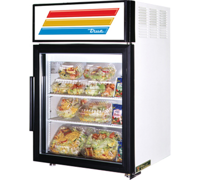 "True GDM-5-LD 24"" Countertop Refrigerated Merchandiser - 1-Door, 2-Shelf, 5 cu ft, LED, White"