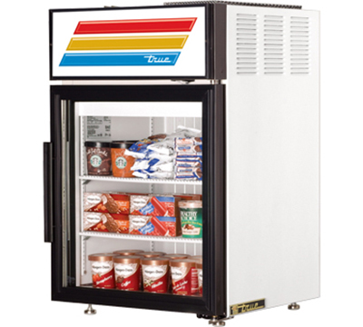 "True GDM-5F-LD 24"" Countertop Freezer Merchandiser - 1-Door, 2-Shelf, LED, 5 cu ft, White"