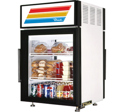 "True GDM-5PT-LD 24"" Countertop Pass-Thru Refrigerated Merchandiser - 1-Door, 2-Shelf, LED, White"
