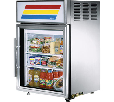 "True GDM-5-S-LD 24"" Countertop Refrigerated Merchandiser - 1-Door, 2-Shelf, LED, All Stainless"