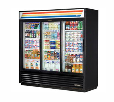 "True GDM-69-LD 80"" Refrigerated Merchandiser - 3-Door, 12-Shelf, LED, 69 cu ft, White"