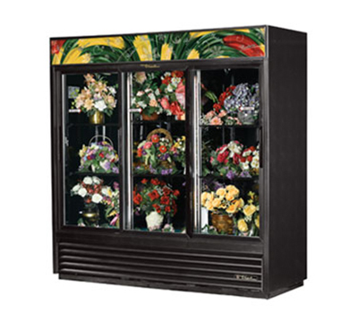 "True GDM-69FC-LD 80"" Floral Merchandiser - 3-Door, 6-Shelf, 69 cu ft, LED, White"