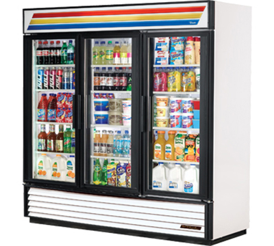 "True GDM-72-LD 80"" Refrigerated Merchandiser - 3-Door, 12-Shelf, LED, 72 cu ft, White"