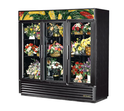"True GDM-72FC-LD 80"" Floral Merchandiser - 3-Door, 6-Shelf, LED, 72 cu ft, White"