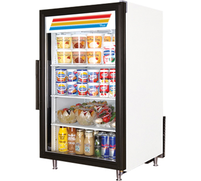 "True GDM-7-LD 24"" Countertop Refrigerated Merchandiser - 1-Door, 3-Shelf, LED, White"