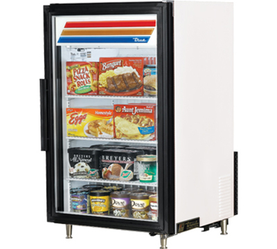 "True GDM-7F-LD 24"" Countertop Freezer Merchandiser - 1-Door, 3-Shelf, LED, White"