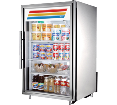"True GDM-7-S-LD 24"" Countertop Refrigerated Merchandiser - LED Light, 1-Door, 2.5-Shelf, Stainless"