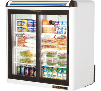 "True GDM-9-LD 37"" Countertop Refrigerated Merchandiser - LED Light, 2-Door, 3-Shelf, White"