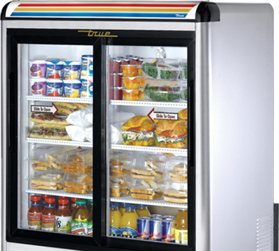 "True GDM-9-LD 37"" Countertop Refrigerated Merchandiser - LED Light, 2-Door, 2.5-Shelf, Stainless"