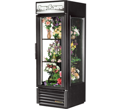 "True GEM-23FC BLK 27"" Glass End Floral Merchandiser - 1-Door, 2-Shelf, 23 cu ft, Black"