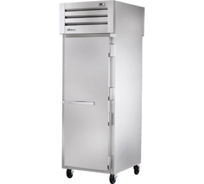 "True STA1RPT-1S-1G 28"" Pass-Thru Refrigerator - 1-Solid/1-Glass Door, LED, Stainless Exterior"