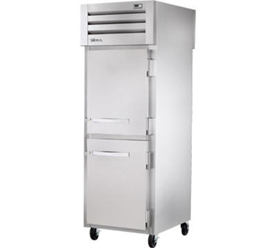 "True STA1RPT-2HS-1S 28"" Pass-Thru Refrigerator - 2-Half/1-Full Solid Door, LED, Stainless Exterior"