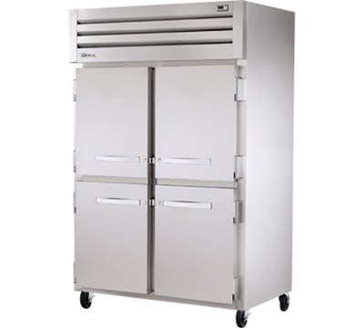 "True STG2R-4HS 53"" Reach-In Refrigerator - 4-Solid Half Doors, Stainless/Aluminum"
