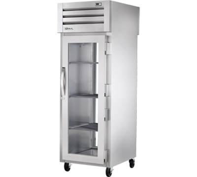 "True STR1RPT-1G-1G 28"" Pass-Thru Refrigerator - 2-Glass Doors, LED, All Stainless"