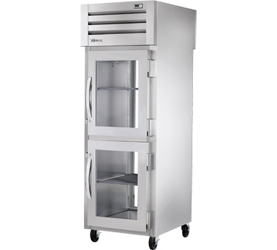 "True STA1RPT-2HG-1G 28"" Pass-Thru Refrigerator - 2-Half/1-Full Glass Door, LED, Stainless Exterior"