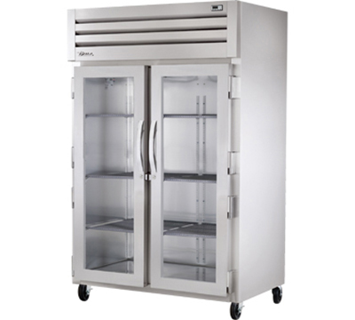 "True STR2R-2G 53"" Reach-In Refrigerator - 2-Glass Doors, LED, All Stainless"