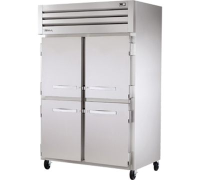 "True STR2R-4HS 53"" Reach-In Refrigerator - 4-Solid Half Doors, LED, All Stainless"