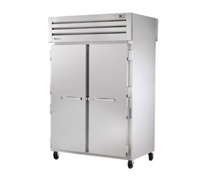 "True STA2RPT-2S-2G 53"" Pass-Thru Refrigerator - 2-Solid/2-Glass Doors, LED, Stainless Exterior"