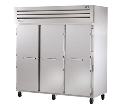"True STG3R-3S 78"" Reach-In Refrigerator - 3-Solid Door, Stainless/Aluminum"