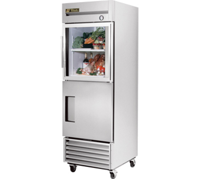 "True T-23-1-G-1 27"" Reach-In Refrigerator - 1-Glass/1-Solid Half Door, Stainless/Aluminum"