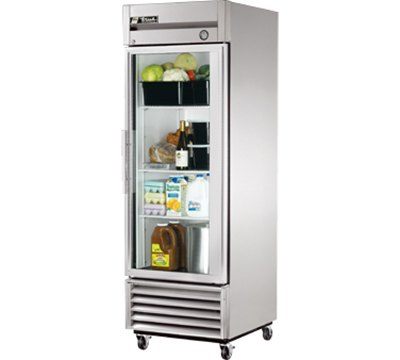 "True T-23G 27"" Reach-In Refrigerator - 1-Glass Door, Stainless/Aluminum"