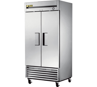 "True T-35 39.5"" Two Section Reach-In Refrigerator, Solid Door, 115v"