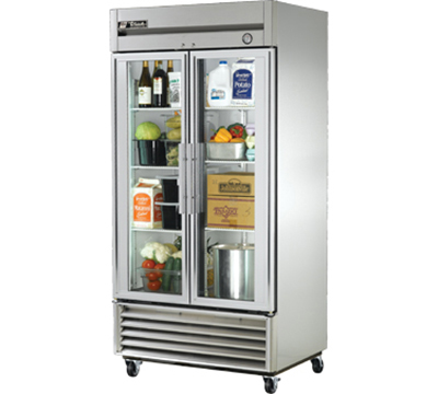 "True T-35G 40"" Reach-In Refrigerator - 2-Glass Doors, Stainless/Aluminum"