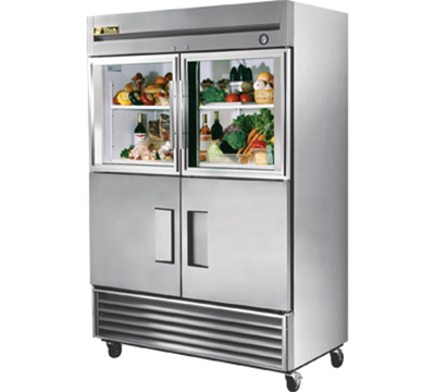 "True T-49-2-G-2 54"" Reach-In Refrigerator - 2-Glass/2-Solid Half Doors, Stainless/Aluminum"