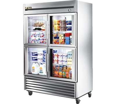 "True T-49G-4 54"" Reach-In Refrigerator - 4-Glass Half Doors, Stainless/Aluminum"