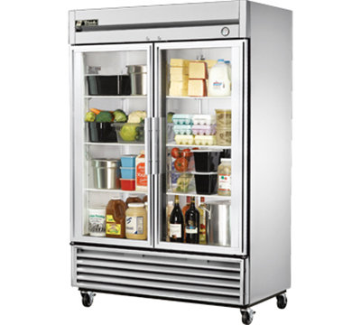 "True T-49G 54"" Reach-In Refrigerator - 2-Glass Doors, Stainless/Aluminum"