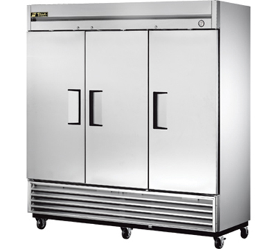 "True T-72 79"" Reach-In Refrigerator - 3-Solid Door, Stainless/Aluminum"