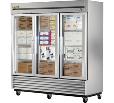 "True T-72FG 79"" Reach-In Freezer - 3-Glass Door, Stainless/Aluminum"