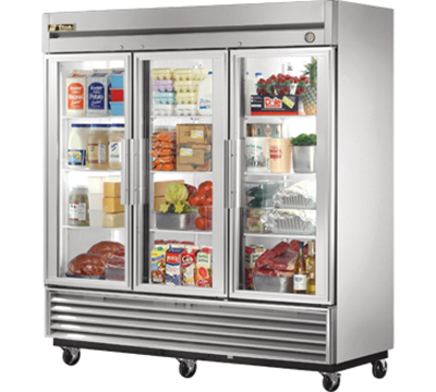 "True T-72G 79"" Reach-In Refrigerator - 3-Glass Door, Stainless/Aluminum"