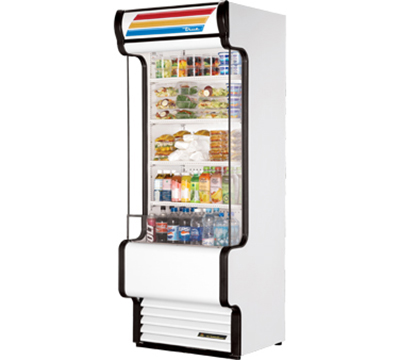 "True TAC-30GS SS 30"" Vertical Air Curtain Merchandiser - 4-Shelf, Glass Sided, Stainless"