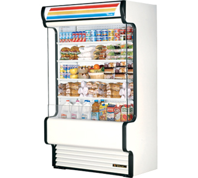 "True TAC-48GS WHT 48"" Vertical Air Curtain Merchandiser - 4-Shelf, Glass Sided, White"