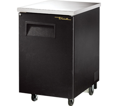"True TBB-1 24"" Back Bar Cooler - Holds (30) 6-Packs, 1-Solid Door, Black"
