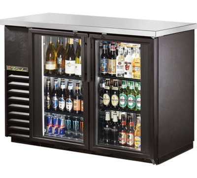 "True TBB-24-48G-LD 48"" Back Bar Cooler - Holds (48) 6-Packs, 2-Glass Doors, LED, Black"