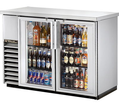 "True TBB-24-48G-S-LD 48"" Back Bar Cooler - Holds (48) 6-Packs, 2-Glass Doors, LED, Stainless"