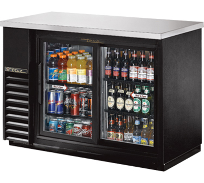 "True TBB-24-48G-SD-LD 48"" Back Bar Cooler - Holds (48) 6-Packs, 2-Sliding Glass Door, LED, Black"