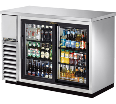 "True TBB-24-48G-SD-S-LD 48"" Back Bar Cooler - Holds (48) 6-Packs, 2-Sliding Glass Door, LED, Stainless"