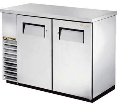 "True TBB-24-48-S 48"" Back Bar Cooler - Holds (48) 6-Packs, 2-Solid Doors, Stainless"