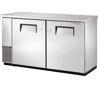 "True TBB-24-60FR-S 60"" Food Rated Back Bar Cooler - Holds (72) 6-Packs, 2-Solid Doors, Stainless"