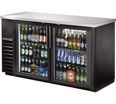 "True TBB-24-60G-LED 60"" Back Bar Cooler - Holds (72) 6-Packs, 2-Glass Doors, LED, Black"