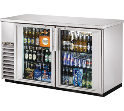 "True TBB-24-60G-S-LD 60"" Back Bar Cooler - Holds (72) 6-Packs, 2-Glass Doors, LED, Stainless"