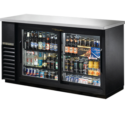 "True TBB-24-60G-SD-LD 60"" Back Bar Cooler - Holds (72) 6-Packs, 2-Sliding Glass Door, LED, Black"