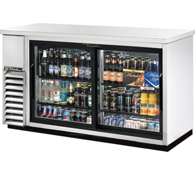 "True TBB-24-60G-SD-S-LD 60"" Back Bar Cooler - Holds (72) 6-Packs, 2-Sliding Glass Door, LED, Stainless"